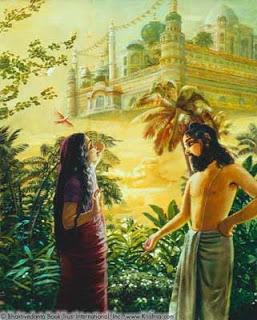 Devahuti observa el palacio volador que su esposo le regala