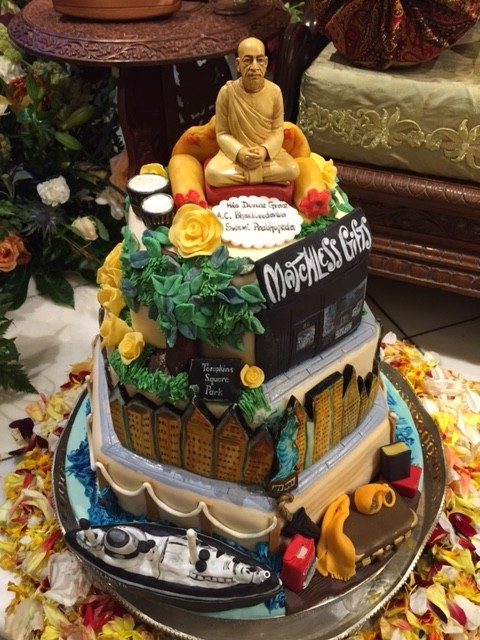 A cake for the 50th anniversary of Prabhupada's arrival in America